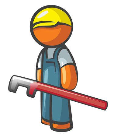 plumbing repair: Orange Man plumber with pipe wrench, working.