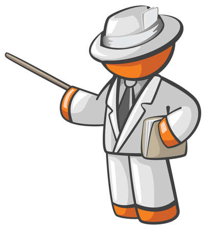 teaching: Orange Man professor or teacher giving seminar with folder dressed up nicely presenting a topic, tutorial, etc. Dressed in white clothes holding envelope or folder.