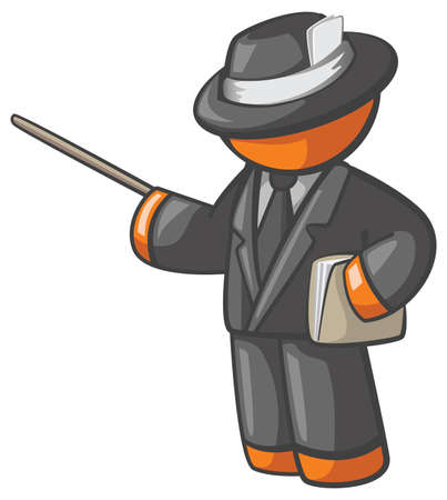 Orange Man professor or teacher giving seminar with folder dressed up nicely presenting a topic, tutorial, etc. Dressed in black clothes holding envelope or folder. Vector