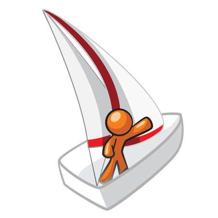 navigating: Orange Man on sailboat adventure.