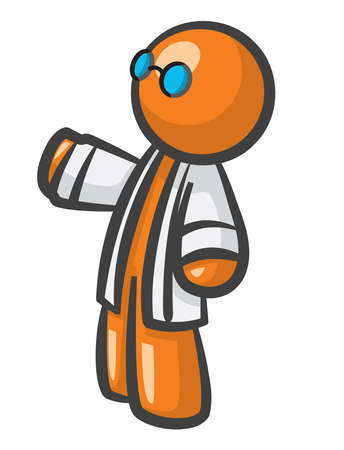 medical technology: Orange Man scientist with lab coat and glasses.