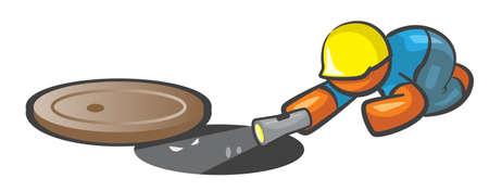 ingeniero: Trabajador de Orange El hombre en busca de alcantarillado en el agujero de hombre, con peque�os ojos mir�ndole. Vectores