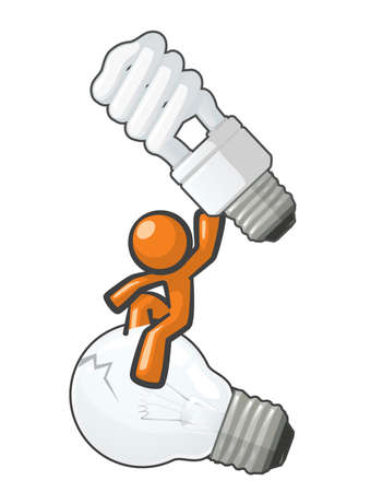 Orange Man switching to the energy saver bulb. Vector