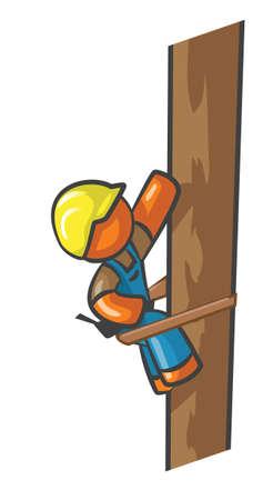 spannung: Orange Man Elektriker Klettern einen Telegrafenmasten.