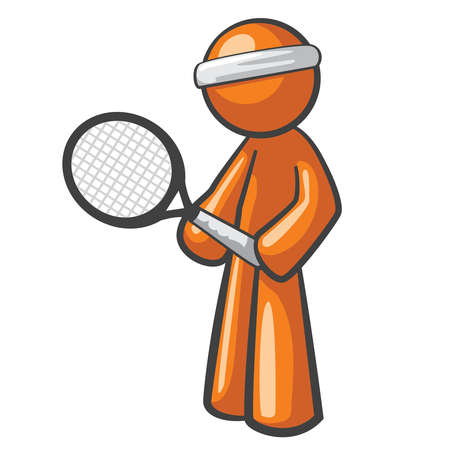 Orange Man tennis player, ready for the next big game. Stock Vector - 12812193