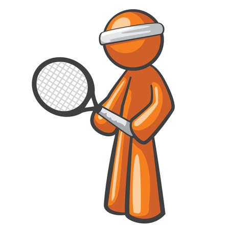 the man: Orange Man tennis player, ready for the next big game.
