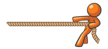 tug o war: El hombre naranja tirando de una cuerda, tira y concepto de guerra, ganando contra todo pron�stico.