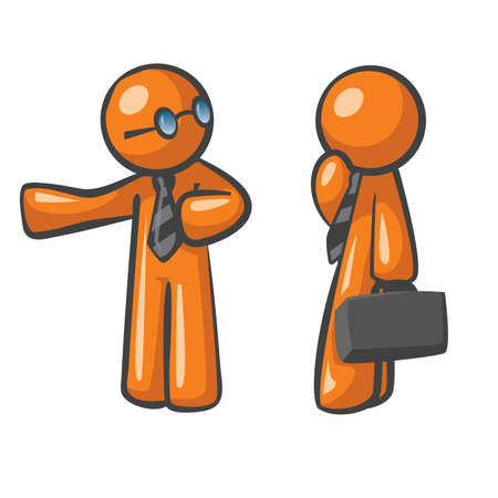 Orange Man presenting his colleague to a practical business solution, concept in affiliate marketing, website sales conversions, and business relationships. Vector