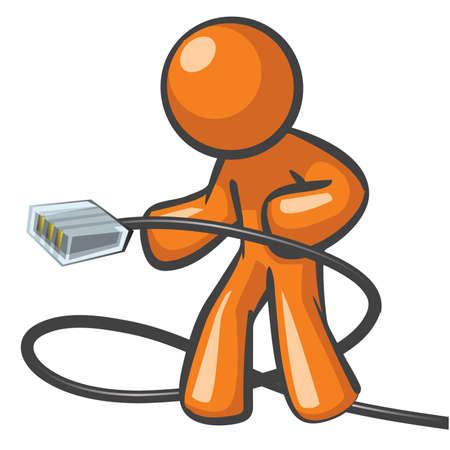 Orange Man en branchant un câble réseau prêt à être mis sur Internet à haute vitesse ou connexion. Banque d'images - 12812111