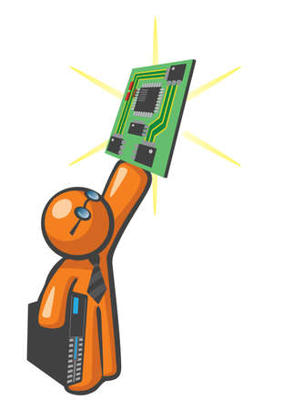 Orange Man holding up computer mother board, a concept in server maintenance and upgrades. Stock Vector - 12812145