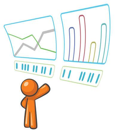 css: Orange Man monitorare i dati e statistiche. Vettoriali