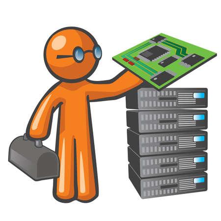 databank: Orange Man server technicus. Stock Illustratie