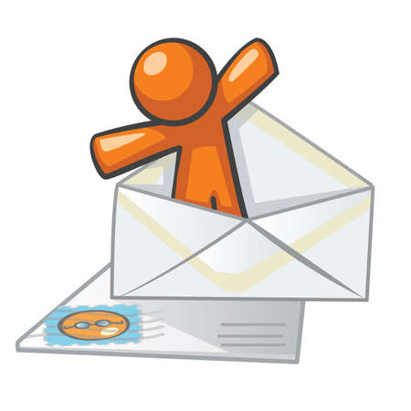 electronic mail: Orange Man mail and messaging concept. Good for contact forms, instant messaging, and not-so-instant messaging, ie, snail mail.
