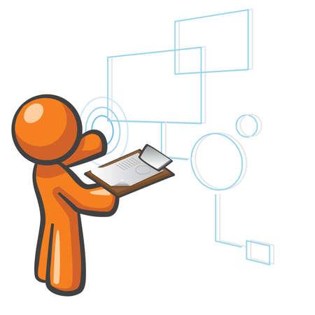 Orange Man databases concept, organizingmanaging data and content. Vector