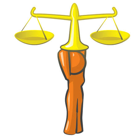 guy standing: Orange woman scales of justice concept.