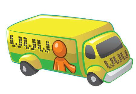 migraci�n: El hombre color naranja en un cami�n de mudanza www, un concepto en el sitio web y la migraci�n en movimiento sitio web.