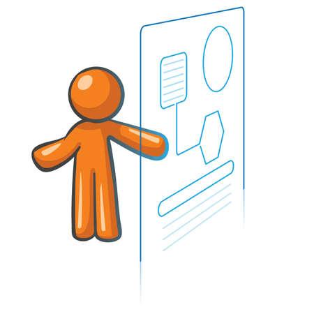 css: Arancione Man sistemi informativi concept, gestione delle informazioni e database. Vettoriali