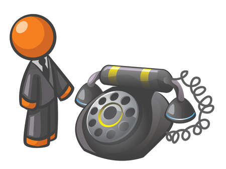 phone: Orange Man classic phone, for a nice retro spin on communications. Illustration