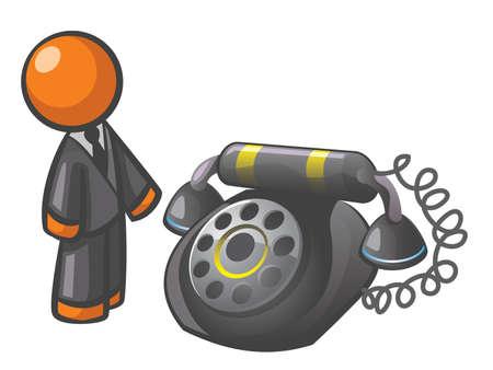 hotline: Orange Man klassischen Telefons, f�r einen netten Retro-Spin auf Kommunikation. Illustration
