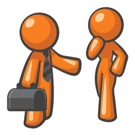技術的な問題を解決するサイト上に現れるオレンジ男。良い一般的な高品質の人々 指向のサービスの概念。