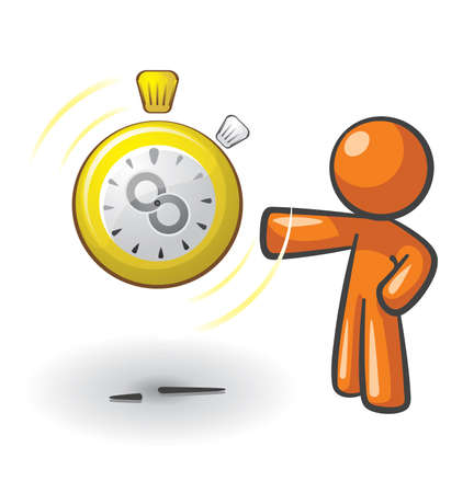 orange man: Orange Man with a clock that has an infinity symbol on it, a concept in getting more time or saving it. Illustration