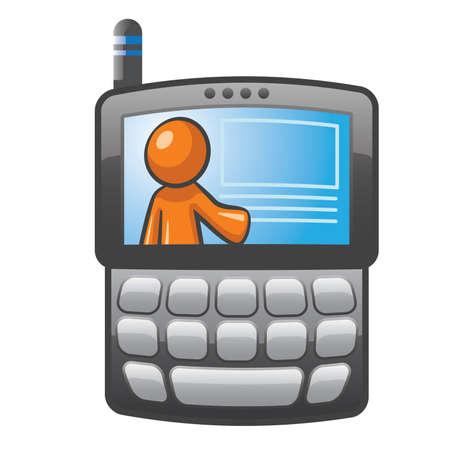 agenda electr�nica: Orange Man en un tel�fono PDA con botones en blanco. Ilustraci�n simple para las comunicaciones.