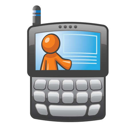 Orange Man on a PDA phone with blank buttons. Simple illustration for communications.
