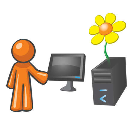 yellow character: Orange Man recycling his computer. There is a flower growing out of it. Illustration