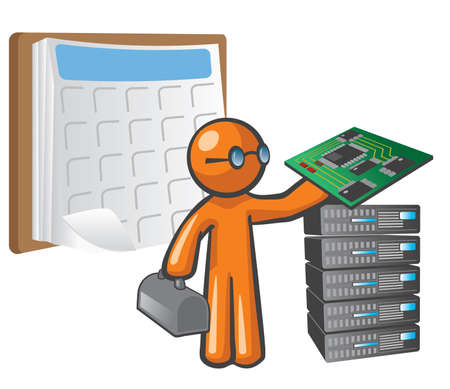 computer science: Orange Man scheduled maintenance. He is holding a mother board, beside a stack of servers, with a schedule behind him.