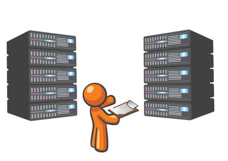 datacenter: Orange Man standing beside server towers, checking them. Illustration