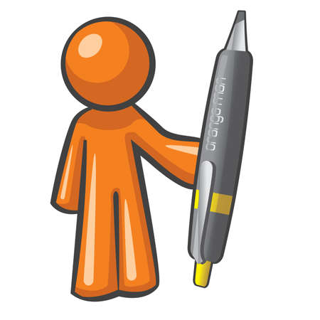 article writing: Orange Man holding a giant, over-sized pen. The pen is mightier, as can be plainly seen here.