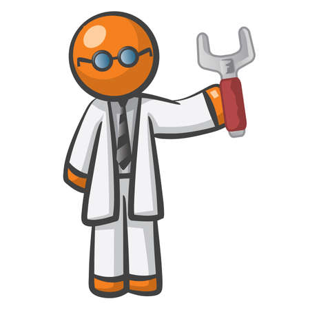has: Orange Man server technician, holding a big wrench and he has glasses. Definitely qualified.