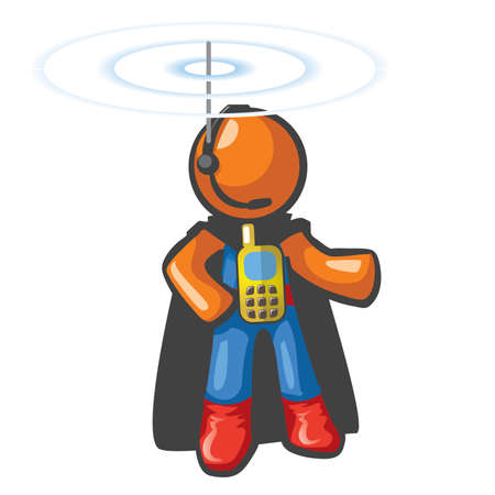 hes: Orange Man communications hero, with phone on his chest and antennae on his head. Hes in touch and ready to save the day from a safe distance.