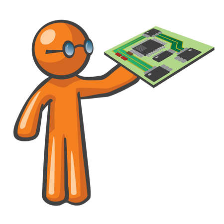 Orange Man holding a computer motherboard.  Stock Vector - 12812143