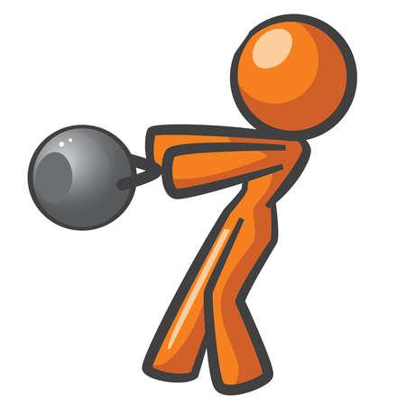 kettles: Orange mujer de trabajo con campanas hervidor ruso. Vectores