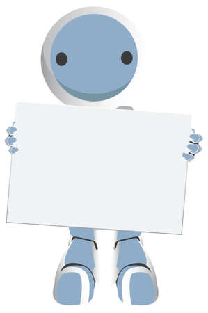 Blue Robot with a circle on his face holding a blank sign. Very cute. Very professional. photo