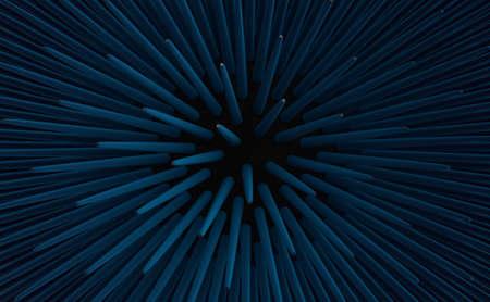 invertebrates: 3d render of blue urchin spikes, close up. Fibonacci pattern golden ratio experiment. Nice background. Stock Photo