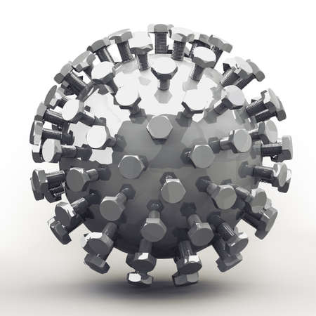 metalworking: Abstract object of bolts on zinc plated sphere. Nice mechanical concept for any metalworking and engineering subject. Stock Photo