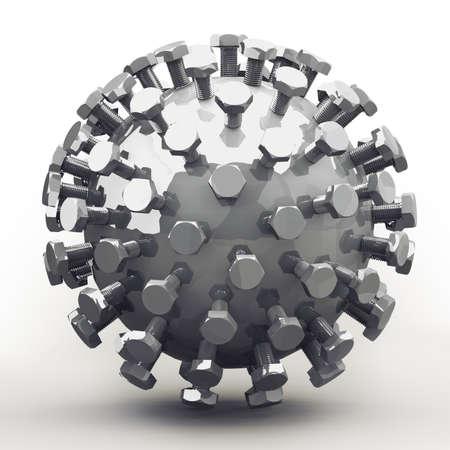 ingenieria industrial: Objeto abstracto de pernos en la esfera zincado. Bonito concepto mec�nico para cualquier trabajo de los metales y el sujeto de la ingenier�a. Foto de archivo
