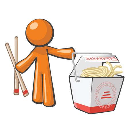 buena salud: El hombre de color naranja con la comida china y copsticks, comida para llevar.