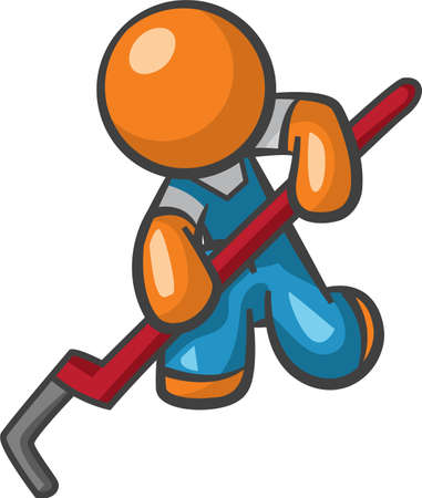 Orange Man plumber with pipe wrench, working. photo