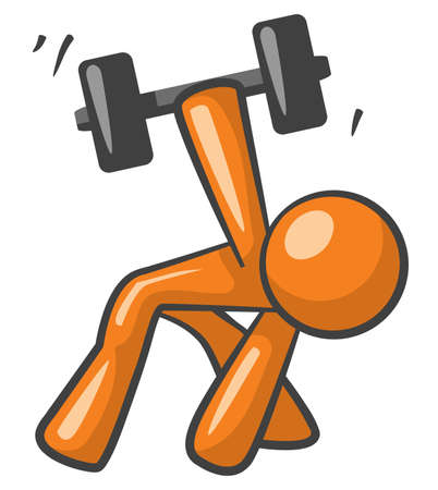 Orange Man working out with dumb bells getting strong now. Stock Photo