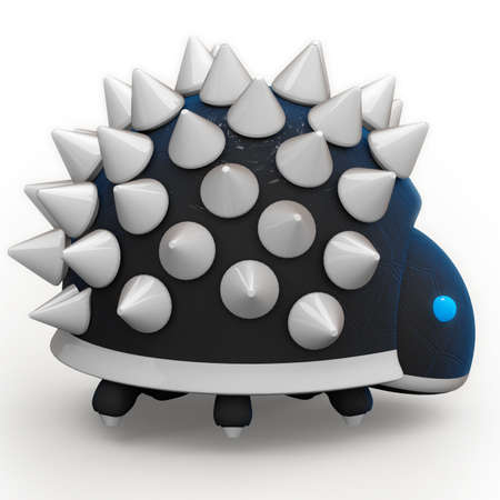 spikey: A spikey robot with lots of spikes. Arranged according to fibonacci sequencegolden ratio. Hes cute. I plan to make more like him. Stock Photo