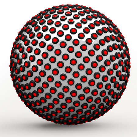 fibonacci: Abstract technol sphere, 3d golden ratio Fibonacci sequence concept. Red LEDs lining a metallic sphere.