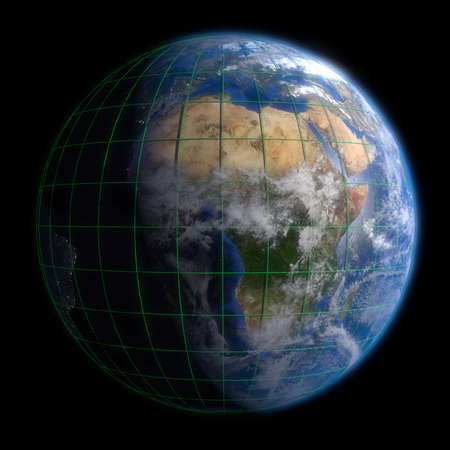 ethiopia: Earth Globe Africa - Clouds and Lines. 3d Render