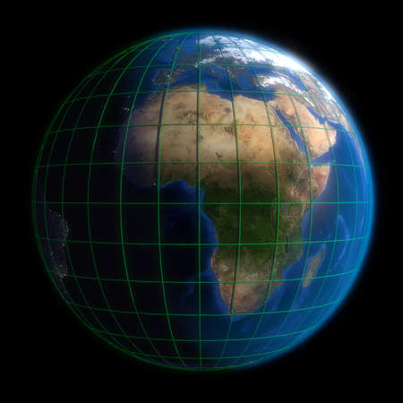 Earth Globe Africa - Latitude and Longitude. 3d Render using NASA texture maps. photo