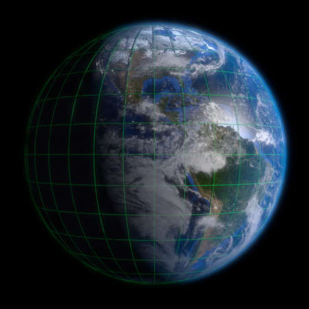 Earth Globe Americas - Clouds and Lines. 3d Render using NASA texture maps. photo