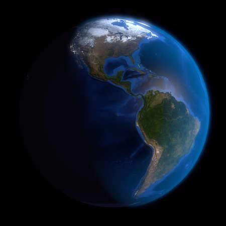 the americas: Earth Globe Americas. 3d Render using NASA texture maps. Stock Photo