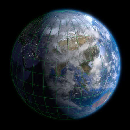 Earth Globe Asia - Clouds and Lines. 3d Render photo