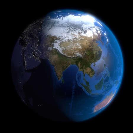Earth Globe Asia. 3d Render using NASA texture maps. photo
